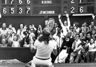 Borg won Wimbledon for fifth right year with a 1-6, 7-5, 6-3, 6-7(16), 8-6 finish over McEnroe. (AP)