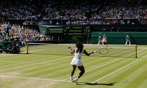 Serena Williams fires a get back into Garbiñe Muguruza in women's singles last at Wimbledon.