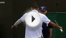 Tennis player Kyrgios hugs ball boy during Wimbledon 2015