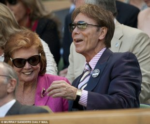 Seeing on tv: A spokesman for Sir Cliff, pictured right here with Cilla Ebony eventually year's Wimbledon, stated he would watch on tv this present year